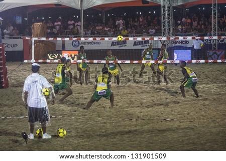 RIO DE JANEIRO - MARCH 09: Game of the teams of Brasil A and Brasil B. Event Mundial de Futevolei 4 X 4 2013,  March 09, 2013 in Rio de Janeiro, Brazil