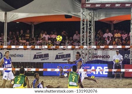 RIO DE JANEIRO - MARCH 09: Game of the teams of Brasil B and Italy. Event Mundial de Futevolei 4 X 4 2013,  March 09, 2013 in Rio de Janeiro, Brazil