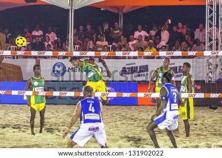 RIO DE JANEIRO - MARCH 09: Game of the teams of Italy and Brasil B. Event Mundial de Futevolei 4 X 4 2013,  March 09, 2013 in Rio de Janeiro, Brazil