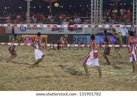 RIO DE JANEIRO - MARCH 09: Game of the teams of Paraguay and Portugal. Event Mundial de Futevolei 4 X 4 2013,  March 09, 2013 in Rio de Janeiro, Brazil
