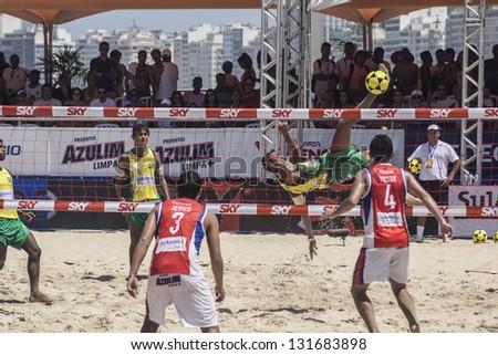 RIO DE JANEIRO - MARCH 09: Game of the teams Paraguay and Brazil A. Event Mundial de Futevolei 4 X 4 2013,  March 09, 2013 in Rio de Janeiro, Brazil