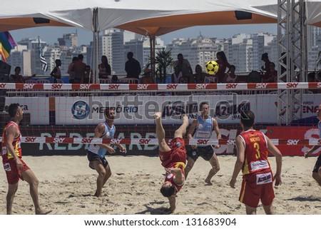 RIO DE JANEIRO - MARCH 09: Game of the teams Portugal and Italy. Event Mundial de Futevolei 4 X 4 2013,  March 09, 2013 in Rio de Janeiro, Brazil