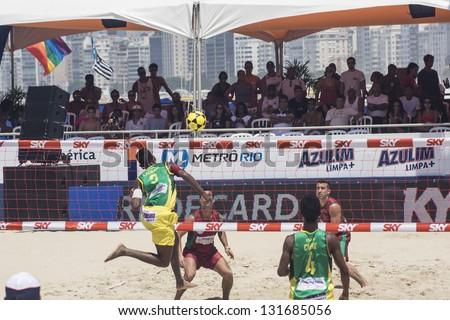 RIO DE JANEIRO - MARCH 09: The team\'s player of Brazil B, Lacraia, executes an attack play. Event Mundial de Futevolei 4 X 4 2013,  March 09, 2013 in Rio de Janeiro, Brazil