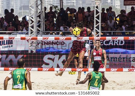RIO DE JANEIRO - MARCH 09: The team\'s player of Portugal, Andrade, executes an attack play. Event Mundial de Futevolei 4 X 4 2013,  March 09, 2013 in Rio de Janeiro, Brazil