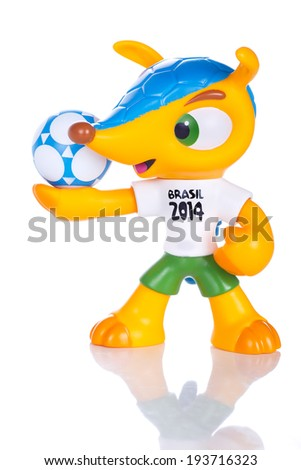 RIO DE JANEIRO MAY 18 2014 Fuleco plastic mascot Fuleco is the official mascot of the FIFA World Cup in Brazil in 2014