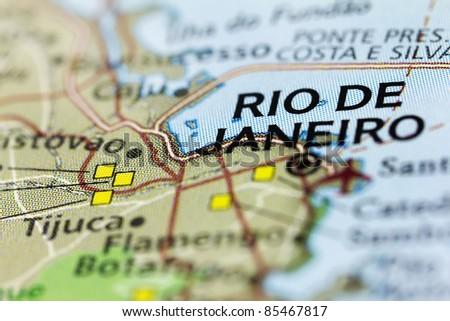Rio de Janeiro on the map. - stock photo