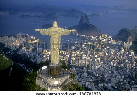 Rio de Janeiro, RJ, Brazil - April , 2010: Aerial view of Christ, symbol of Rio de Janeiro, standing on top of Corcovado Hill, overlooking Guanabara Bay