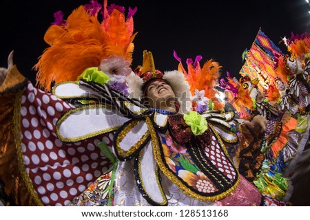 RIO DE JANEIRO, RJ /BRAZIL - FEBRUARY 17: Samba School parade in Sambodromo. Vila Isabel during festival on February 17, 2013 in Rio de Janeiro. - stock photo