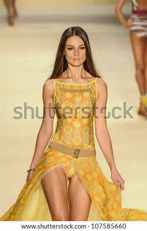 RIO DE JANEIRO, RJ /BRAZIL - MAY 23, 2012: Fashion model wears clothes made by CIA Maritima on FASHION WEEK, show on may 23, 2012 in Rio de Janeiro.