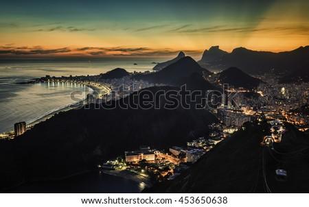 rio de janeiro sunset view with ...