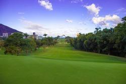 Rio green beuatiful landscape with blue horizon