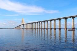 Rio Negro Bridge,  a cable-stayed bridge over the Rio Negro that connects  Manaus and Iranduba in Amazonas, Brazil, South America