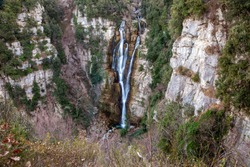 Rio Verde waterfalls. Cascate del Rio Verde, located in Borrello are the highest natural waterfalls in the Italian Apennines. Chieti, Abruzzo, Italy, Europe.