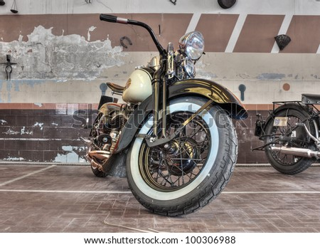 "RIOLO TERME (RA) ITALY - APRIL 15: old Harley Davidson WL (1941) exposed at ""Agriolo"", festivals dedicated at old motorcycles and agricultural machinery, on April 15, 2012 in Riolo Terme (RA) Italy"