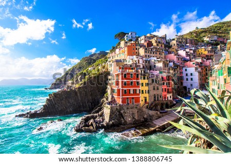 Riomaggiore,  one of the five famous coastal village in the Cinque Terre National Park, Liguria, Italy