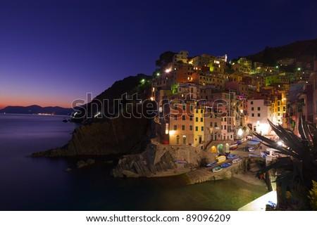 Riomaggiore Village at night, Cinque Terre, Italy