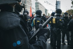 Riot Police handling protesters during demonstrations