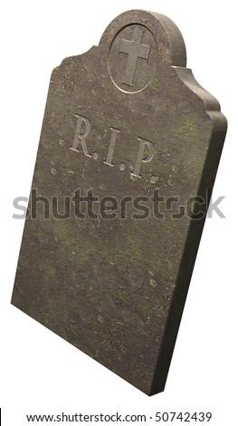 RIP gravestone on white background