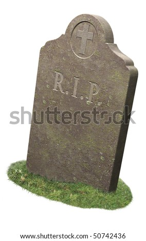 RIP gravestone sitting on grass