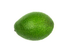 Ripe and green avocado on a white background. Fresh avocado on white background