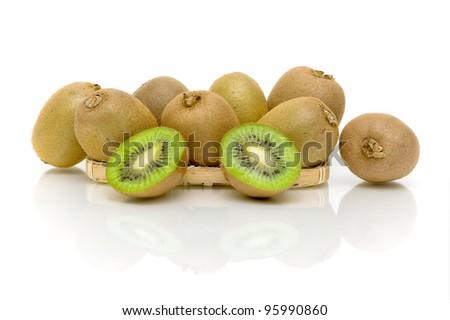 ripe and juicy kiwi fruit on white background close-up