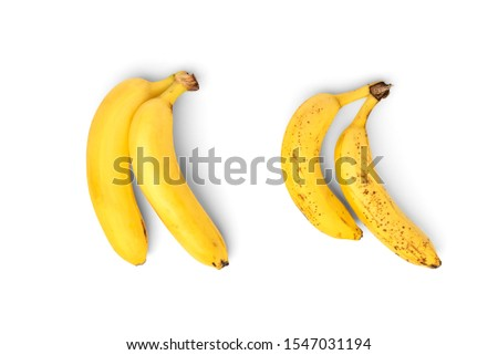 Ripe and over ripe banana isolated on white background. #1547031194