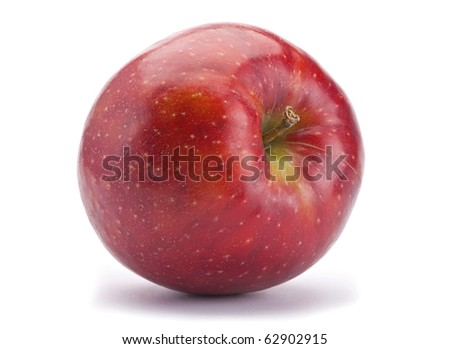 Ripe apple fruit closeup isolated on white background