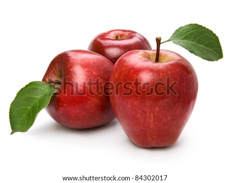 Ripe apple fruit closeup isolated on white background - stock photo