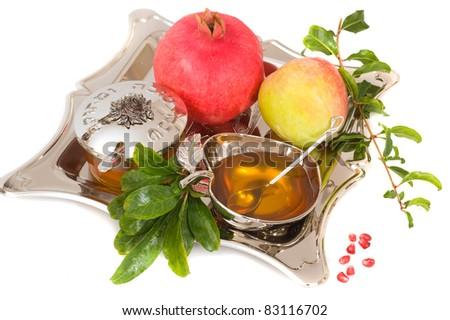 ripe apple ,pomegranates and honey for Rosh Hashana