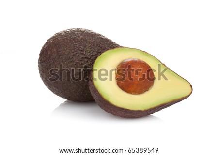 Ripe avocado isolated on a white background