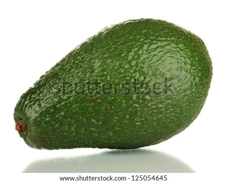 Ripe avocado isolated on white - stock photo