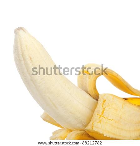 Ripe banana isolated on white background - stock photo