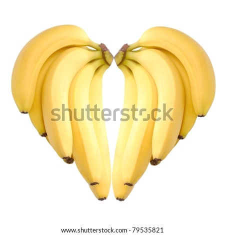 ripe bananas heart isolated on white