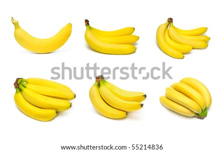 Ripe bananas set isolated on white background