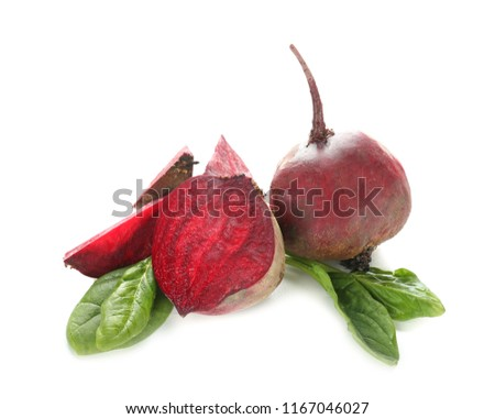 Ripe beets on white background