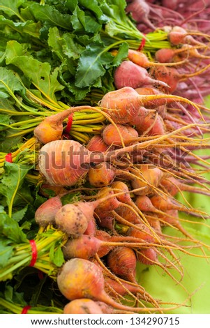 Ripe beets with leaves