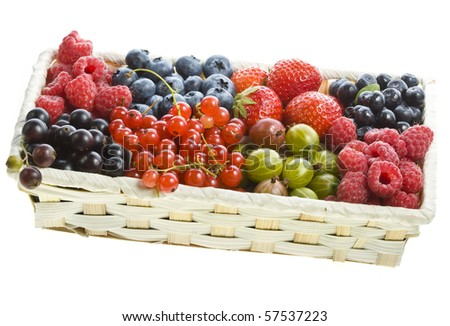 ripe berries set  in the box isolated on white background