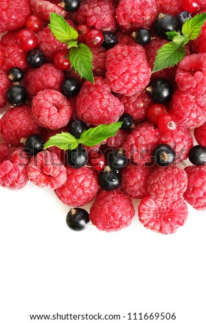 ripe berries with mint, isolated on white - stock photo