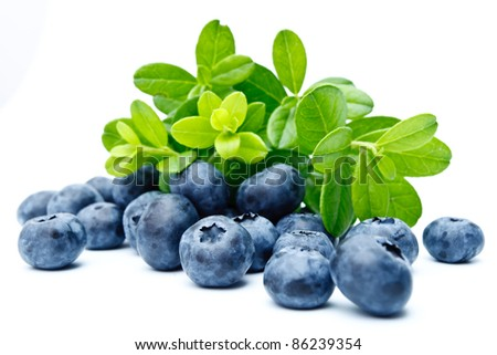 Ripe bilberries on white background