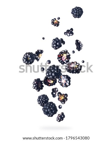 Ripe blackberries in the air close-up, isolated on a white background  Foto stock ©