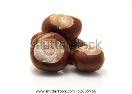 ripe chestnuts isolated on white