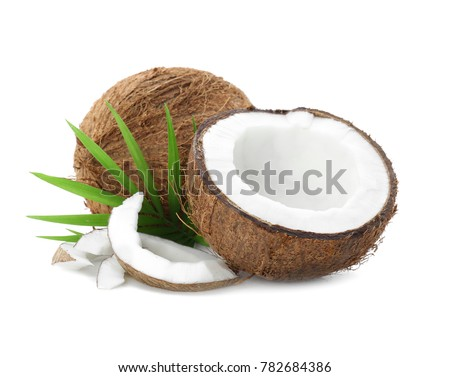 Ripe coconuts on white background