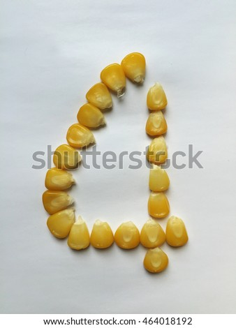 Ripe corn isolated. The lucky numbers of grains corn on a white background. #464018192