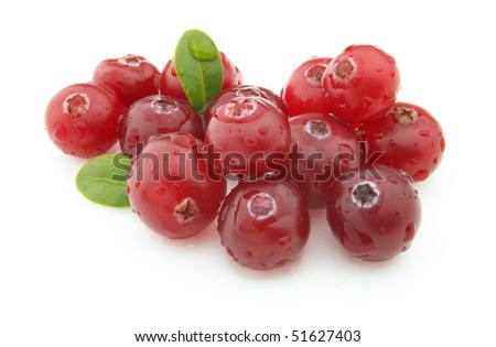 Ripe cranberry with leaves