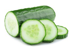 ripe cucumber isolated on white background clipping path