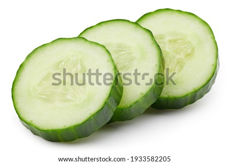 Ripe cucumber vegetable isolated on white background. Cucumber composition with clipping path. Cucumber macro studio photo