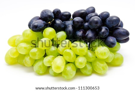 Ripe dark and green grapes isolated on a white