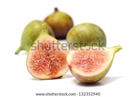 Ripe figs on white