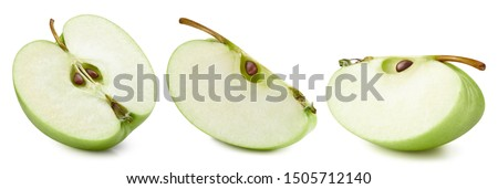 Ripe fresh apples Clipping Path. Green apples isolated on white background. Apples collection