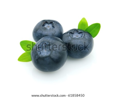 Ripe fresh blueberry with leaves